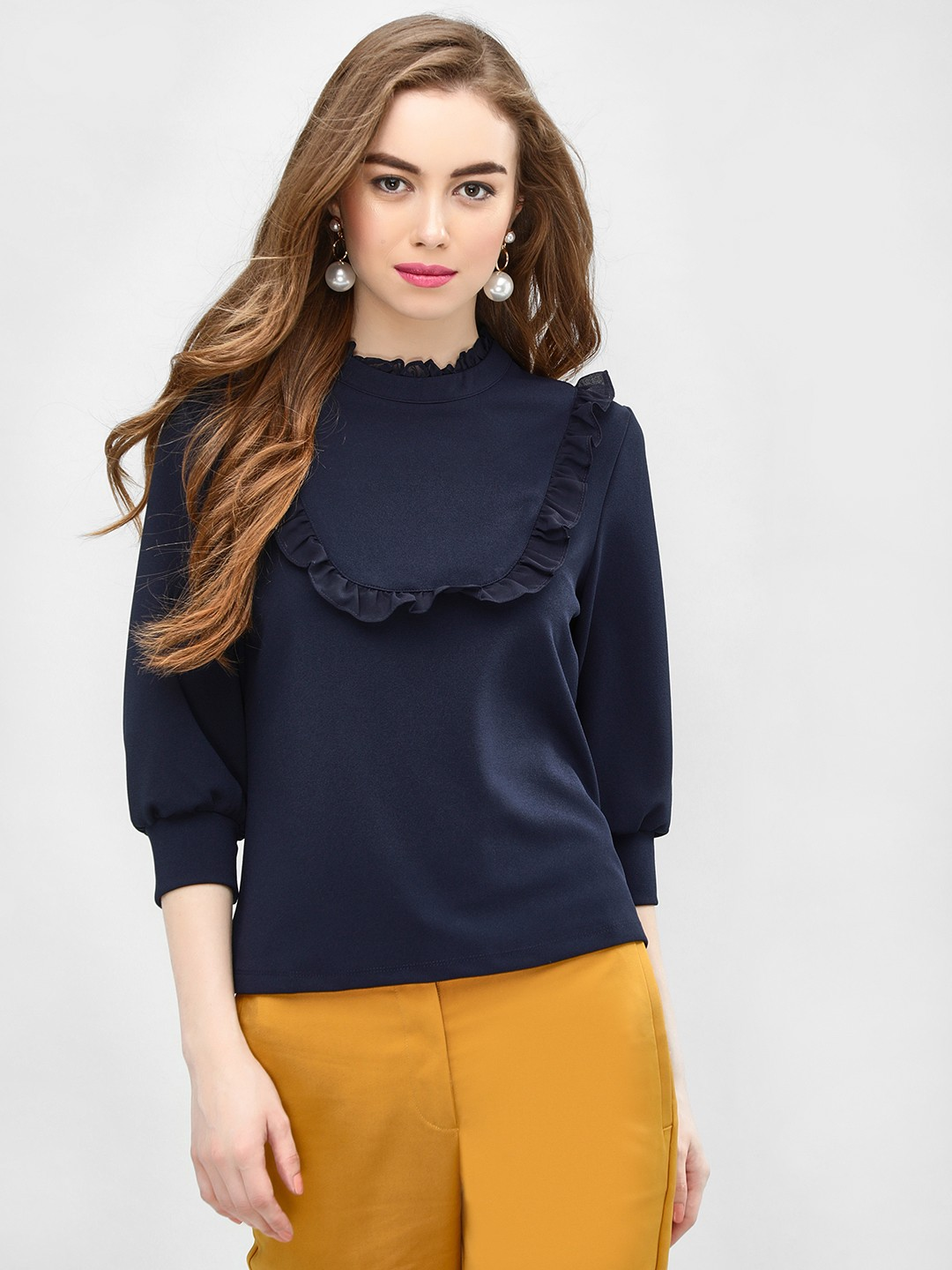 Cover Story Navy Frill Neck Long Sleeve Blouse 1