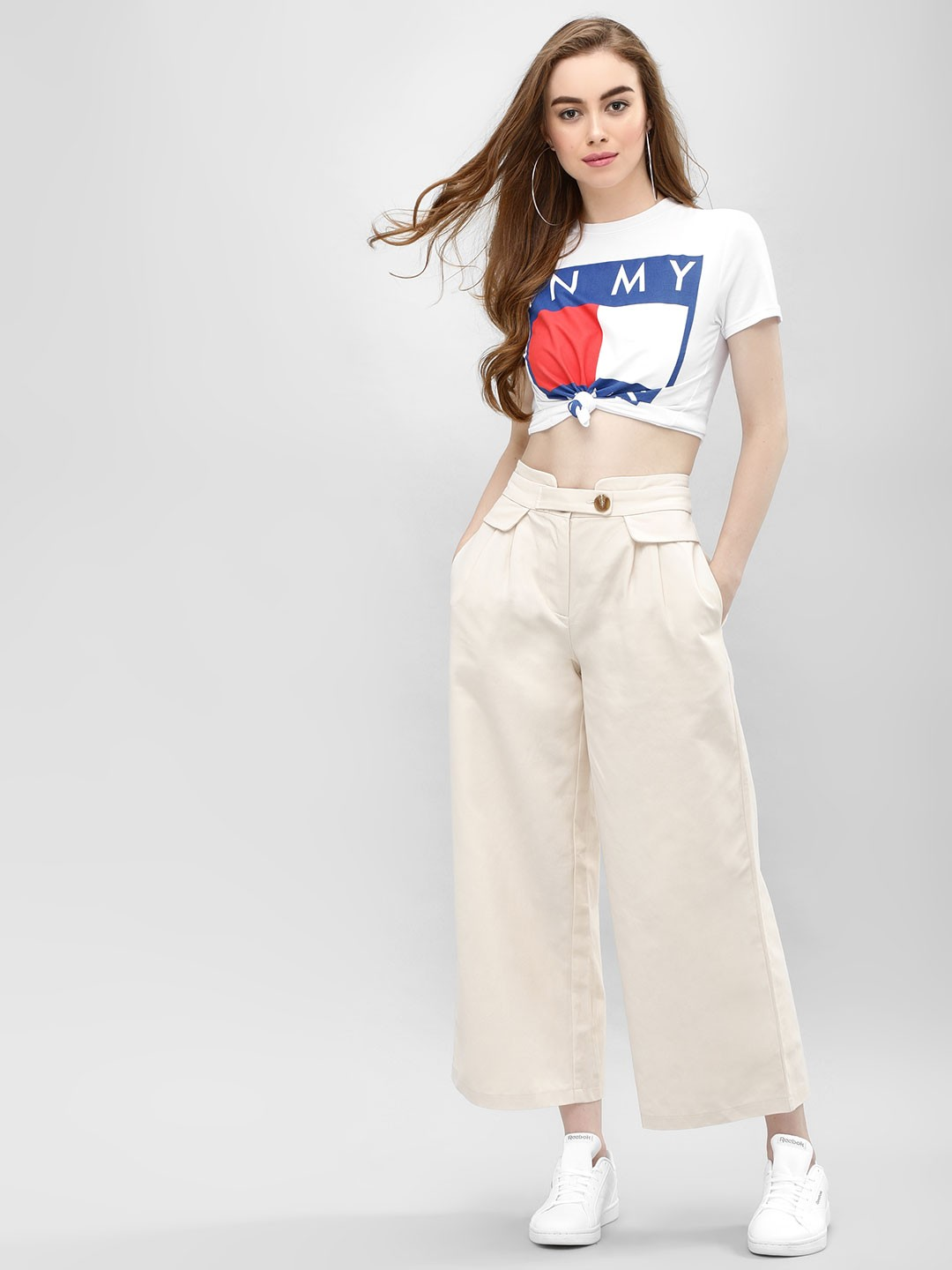 Cover Story Beige Flared Trousers 1