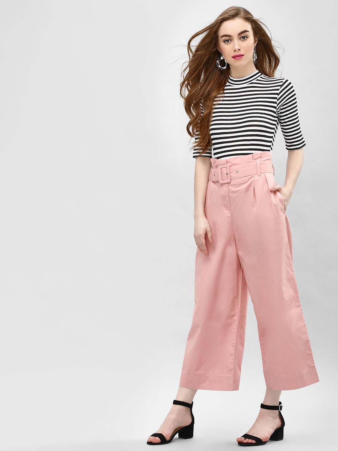 Cover Story Pink Flared Cropped Trousers 1