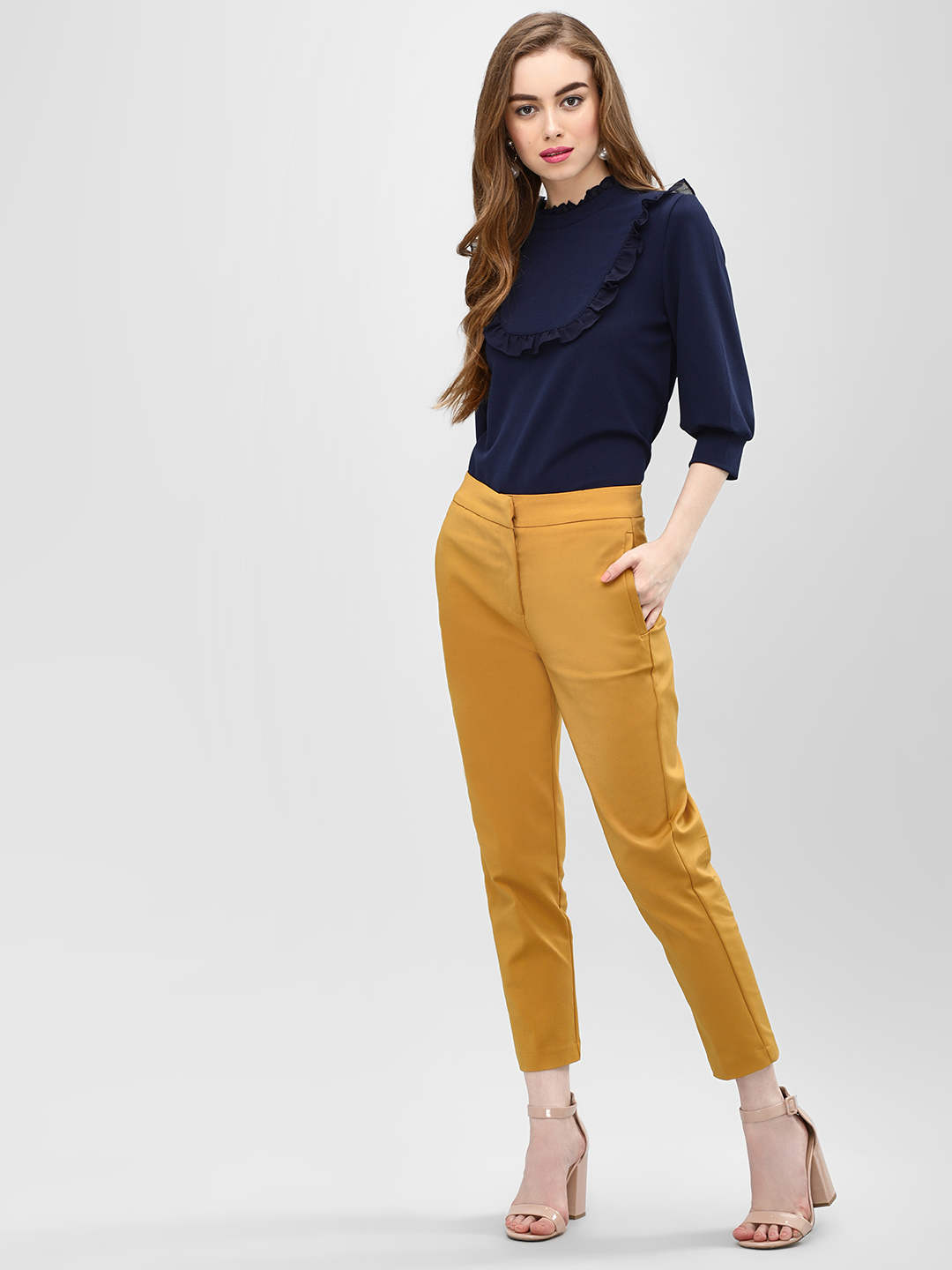 Cover Story Mustard Slim Fit Cropped Trousers 1