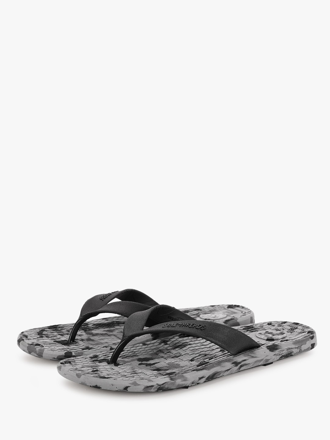 Sole Threads Grey Flip Flops With Textured Footbed 1