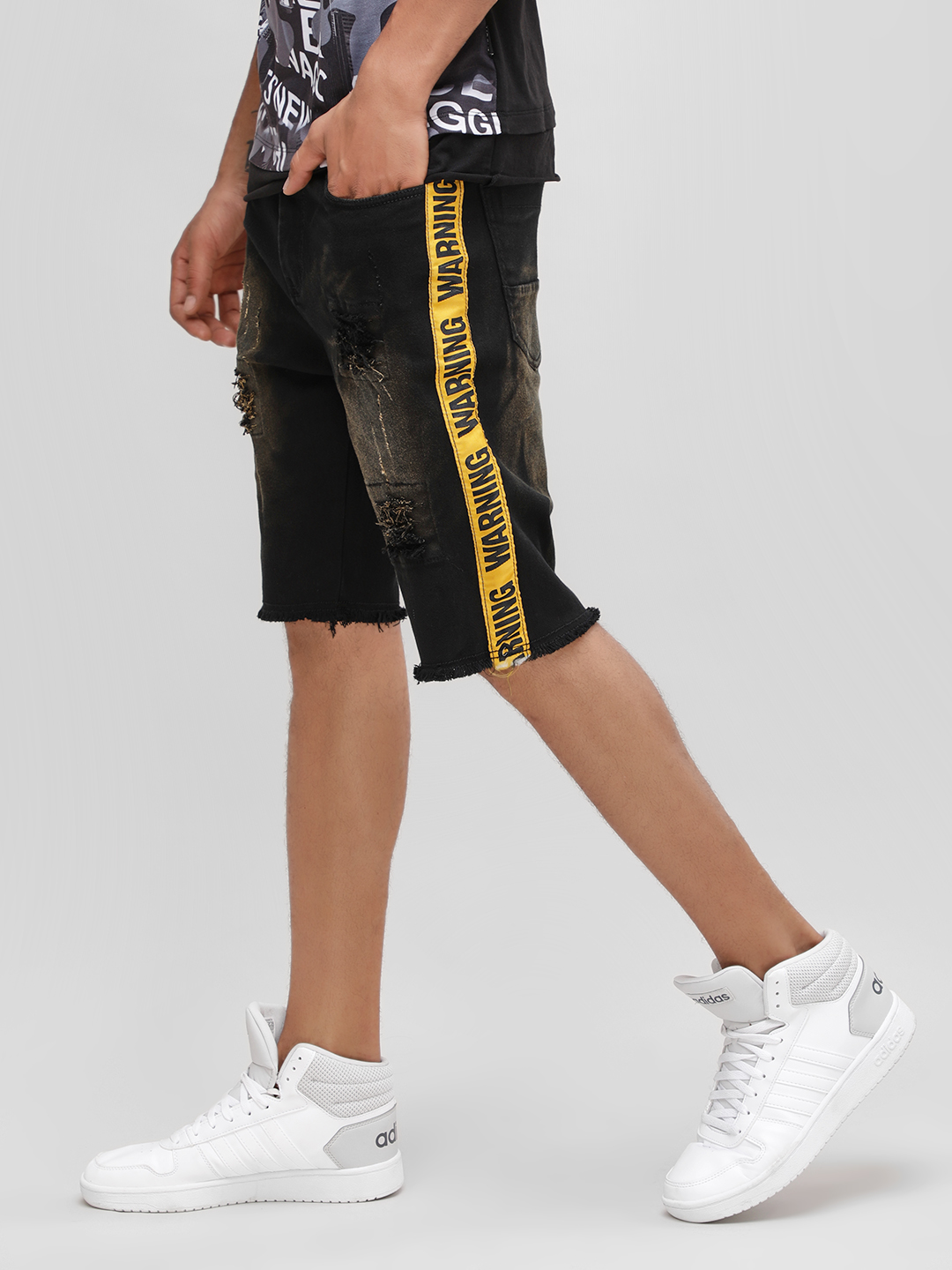 Deezeno Black Slogan Tape Distressed Denim Shorts 1