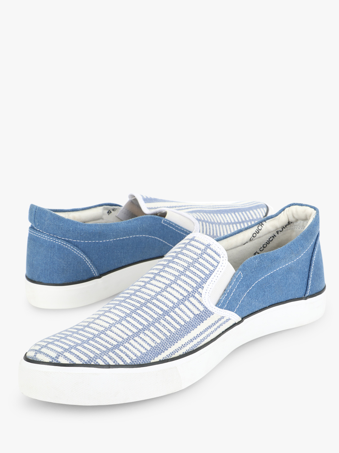 Couch Potato Blue Striped Slip Ons 1