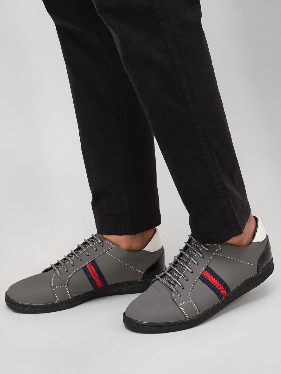 Couch Potato Grey Contrast Side Tape Sneakers 1