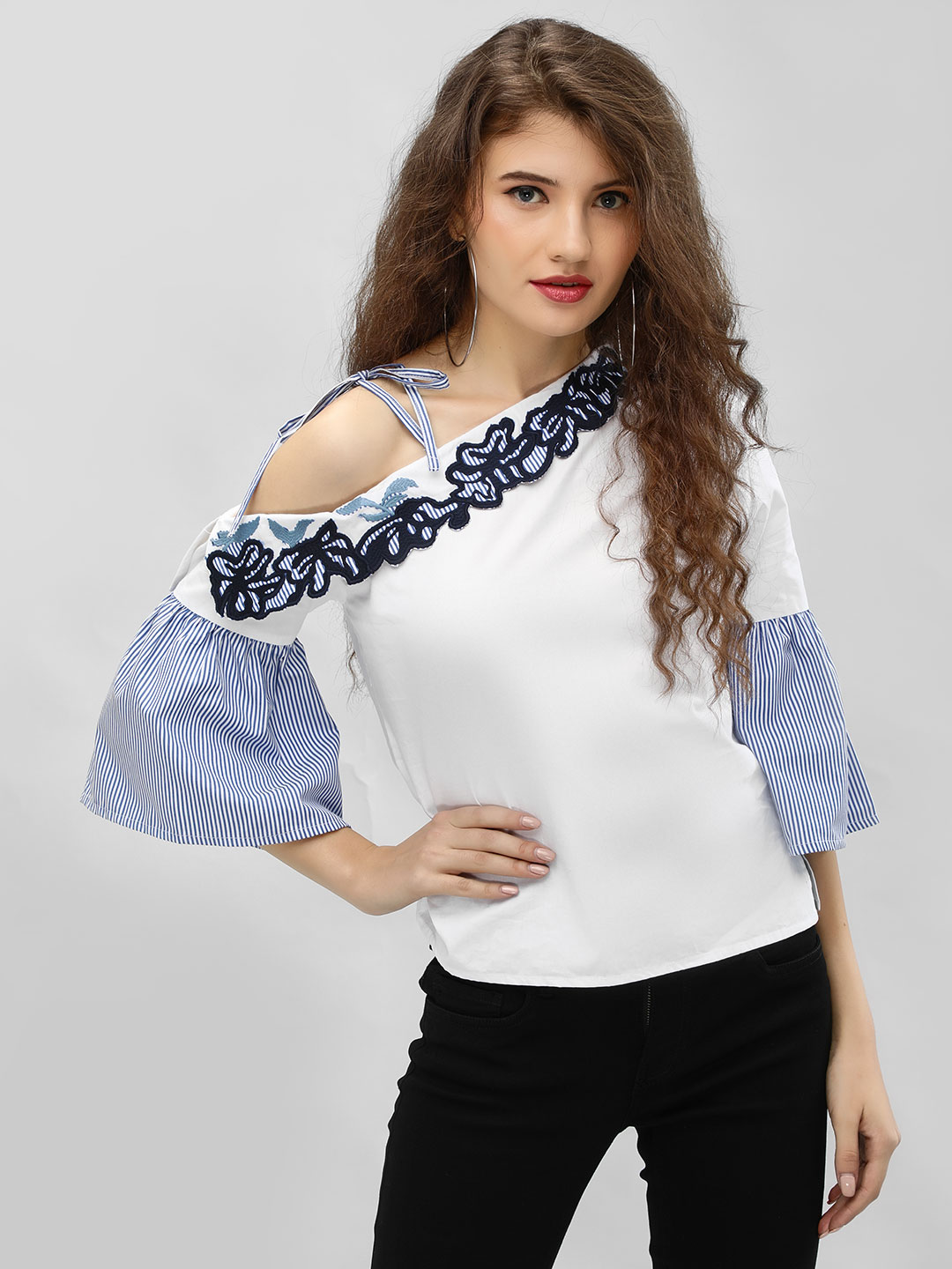 Ri-Dress Multi One Shoulder Bell Sleeve Blouse 1