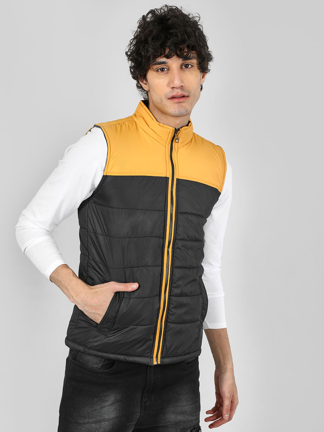 KOOVS Yellow Quilted Colour Block Sleeveless Jacket 1