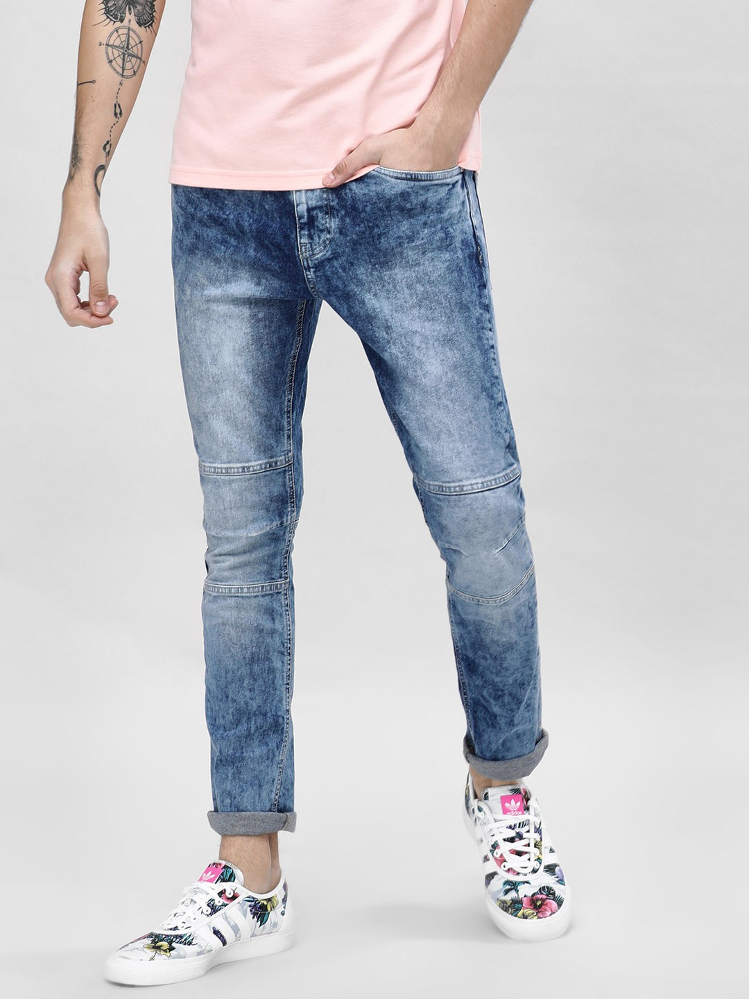 Blue Saint Blue Skinny Fit Jeans With Cut And Sew Detail 1