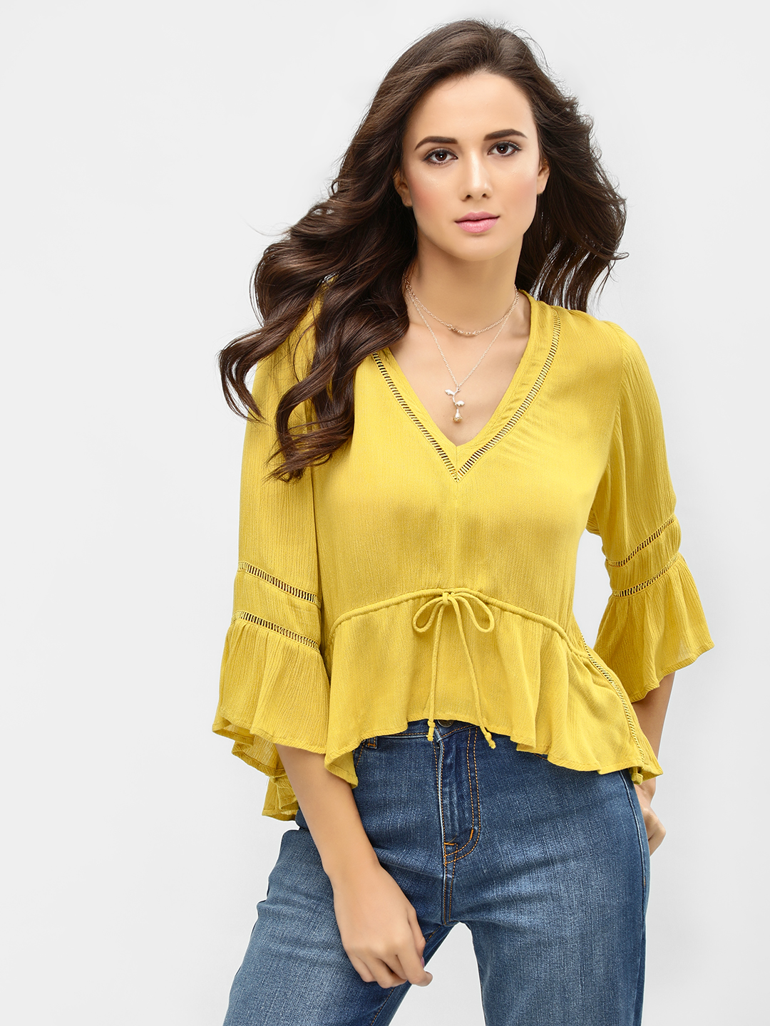 KOOVS Yellow Flared Bell Sleeve Top 1