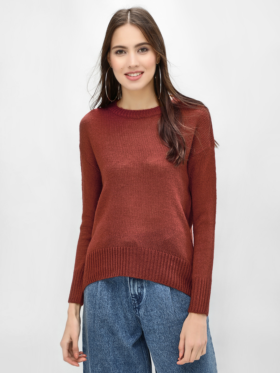 New Look Brown High Low Ribbed Pullover 1