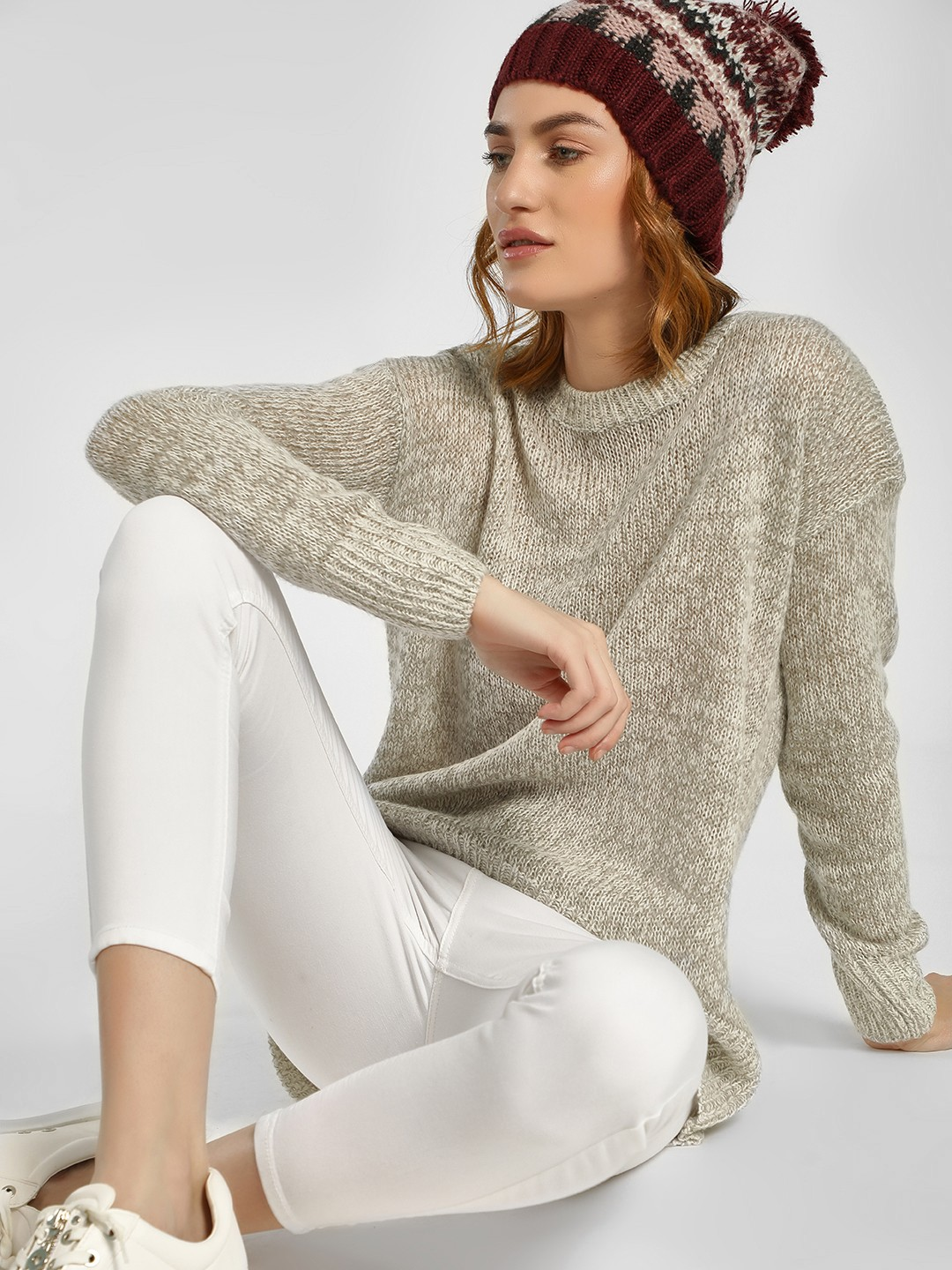 New Look Grey High Low Ribbed Pullover 1