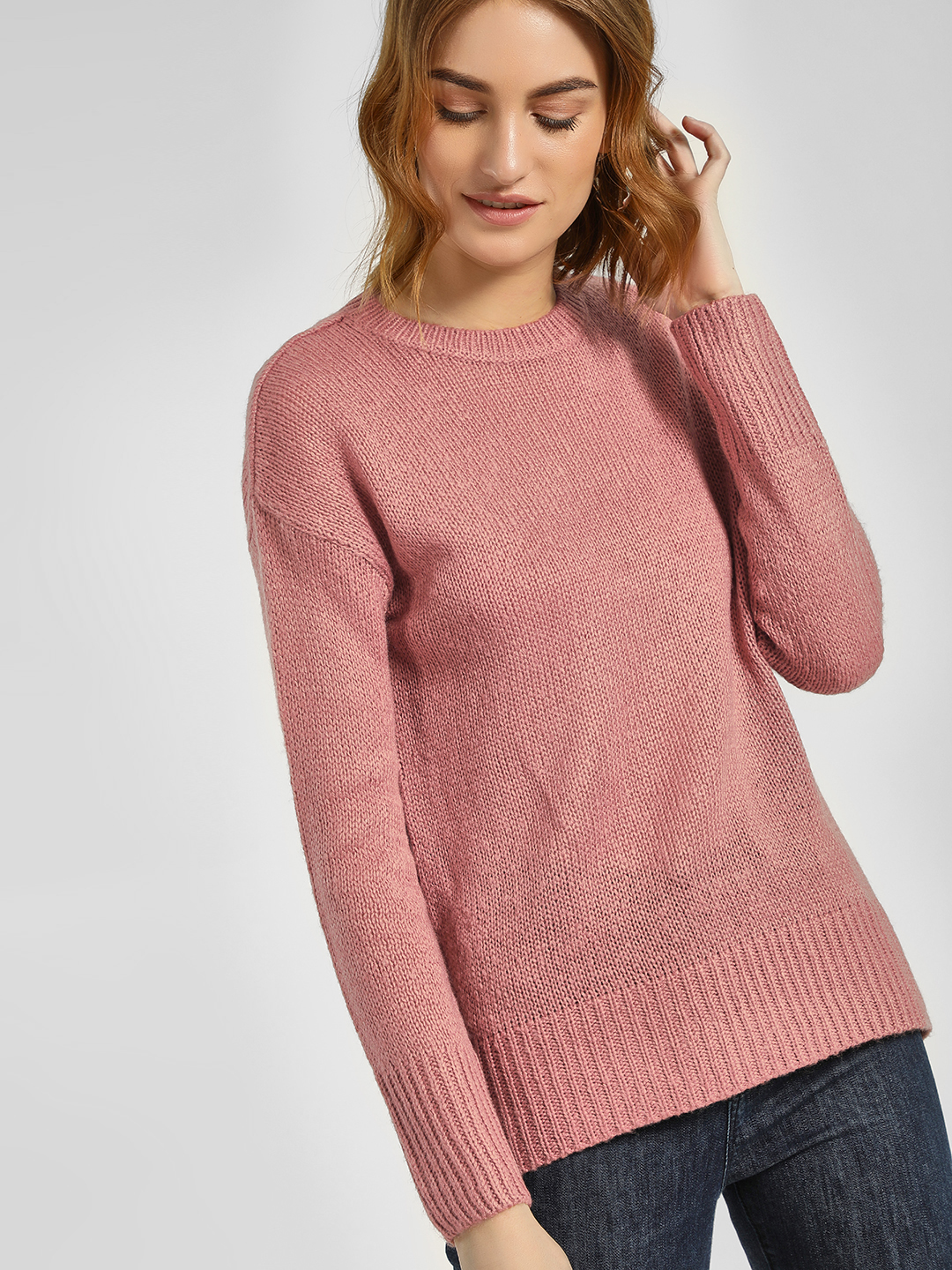 New Look Pink High Low Ribbed Pullover 1
