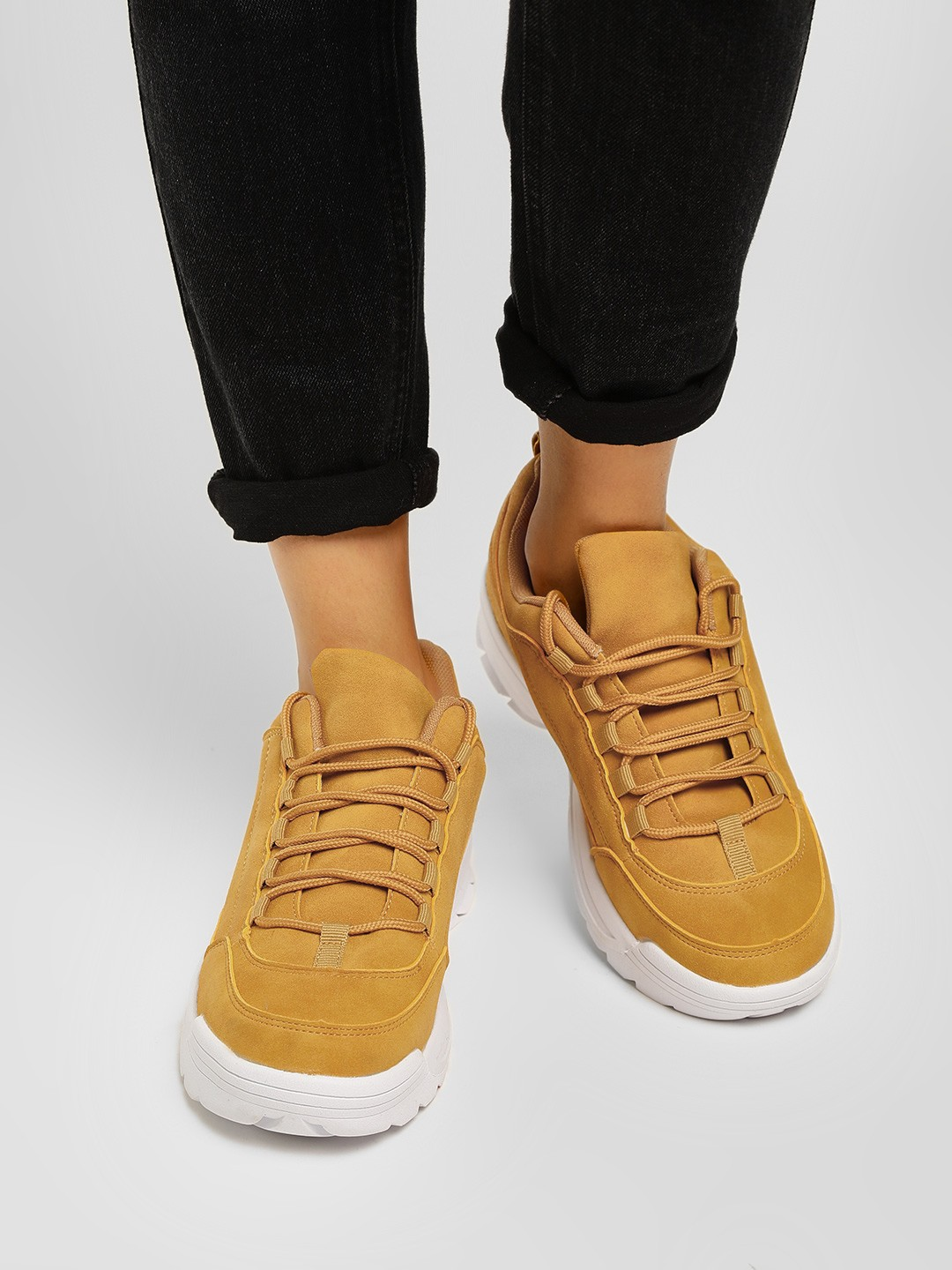 Truffle Collection Yellow Chunky Sole Basic Trainers 1