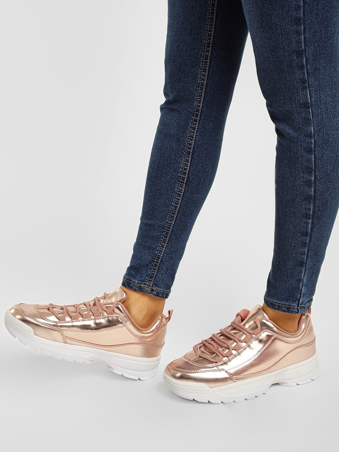 Truffle Collection Rose Gold Chunky Sole Basic Trainers 1