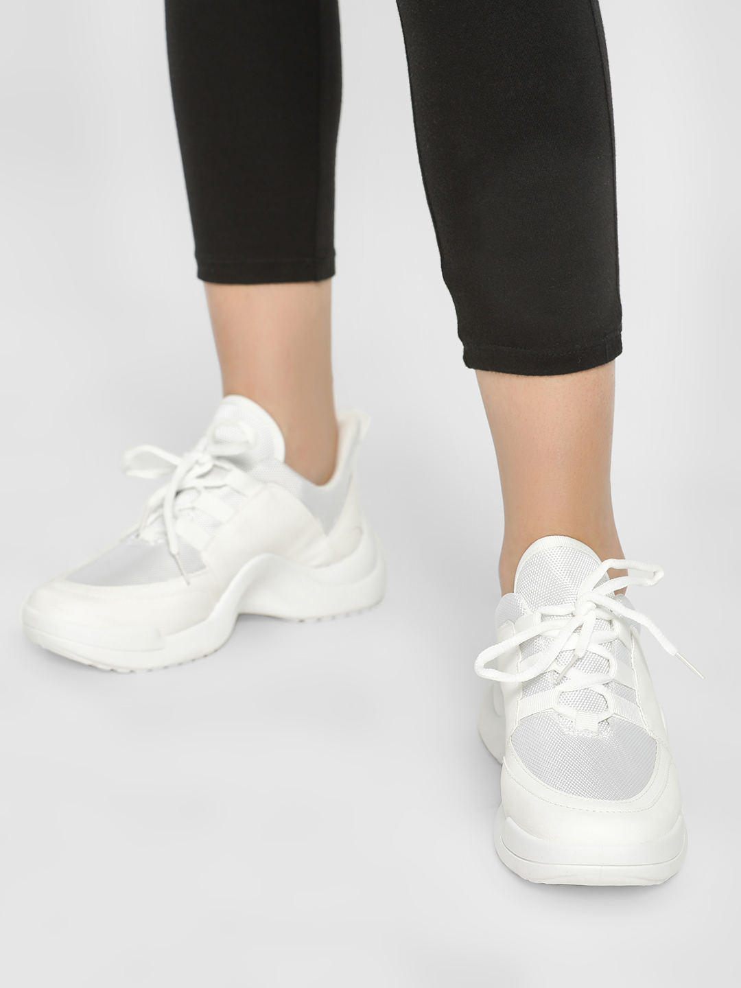 Truffle Collection White Panelled Chunky Sole Trainers 1