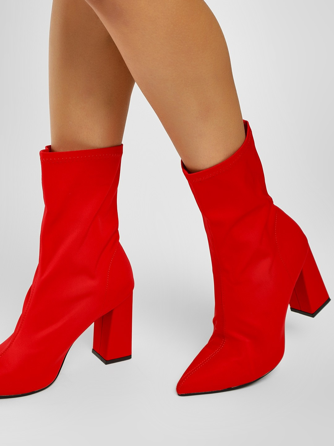 Truffle Collection Red Sock Style Block Heeled Boots 1
