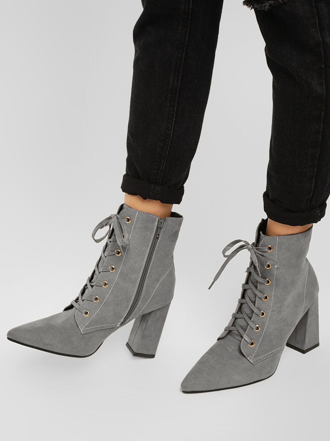 Truffle Collection Grey Lace Tie Suede Finish Boots 1