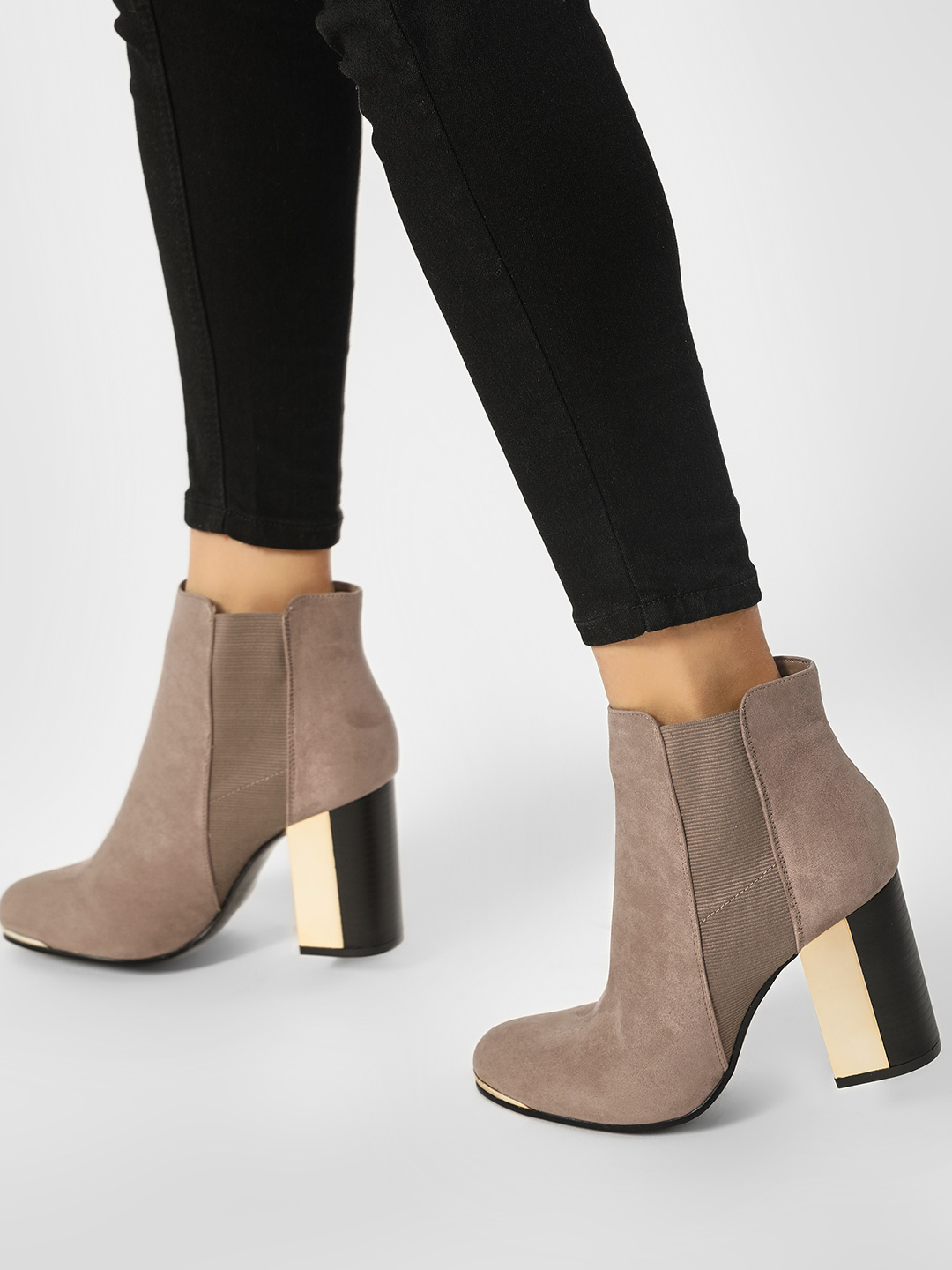 Truffle Collection Brown Suede Gusset Ankle Heel Boots 1