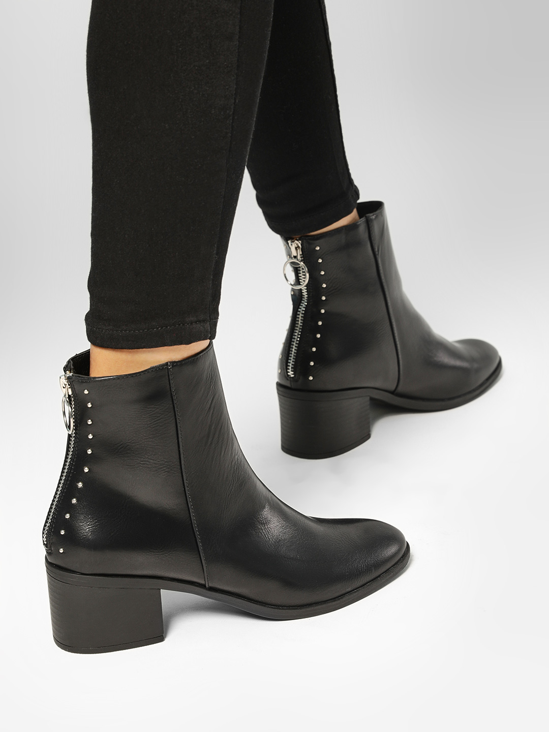 Truffle Collection Black Studded Zip Back Heeled Boots 1