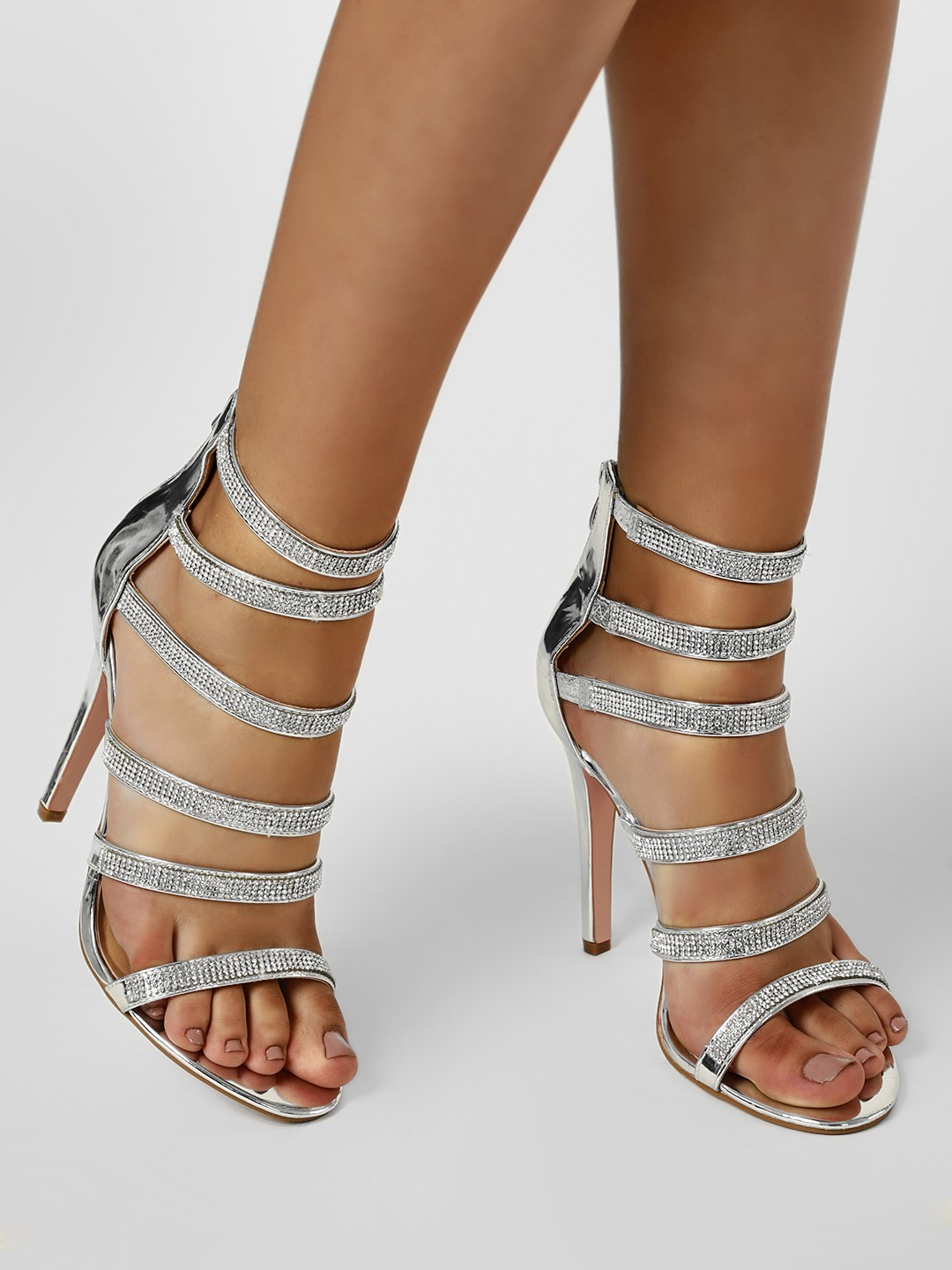 Truffle Collection Silver Diamante Embellished Gladiator Heeled Sandals 1