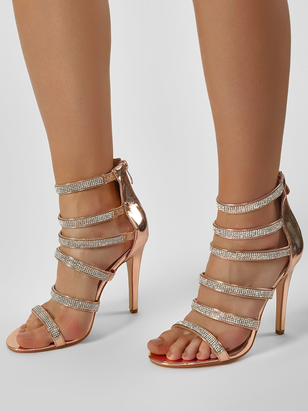 Truffle Collection Gold Diamante Embellished Gladiator Heeled Sandals 1