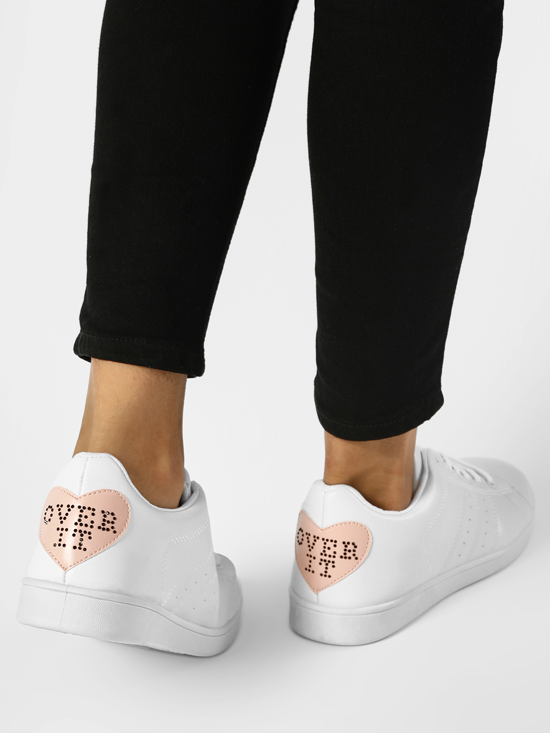 Truffle Collection White Heart Slogan Studded Tab Trainers 1