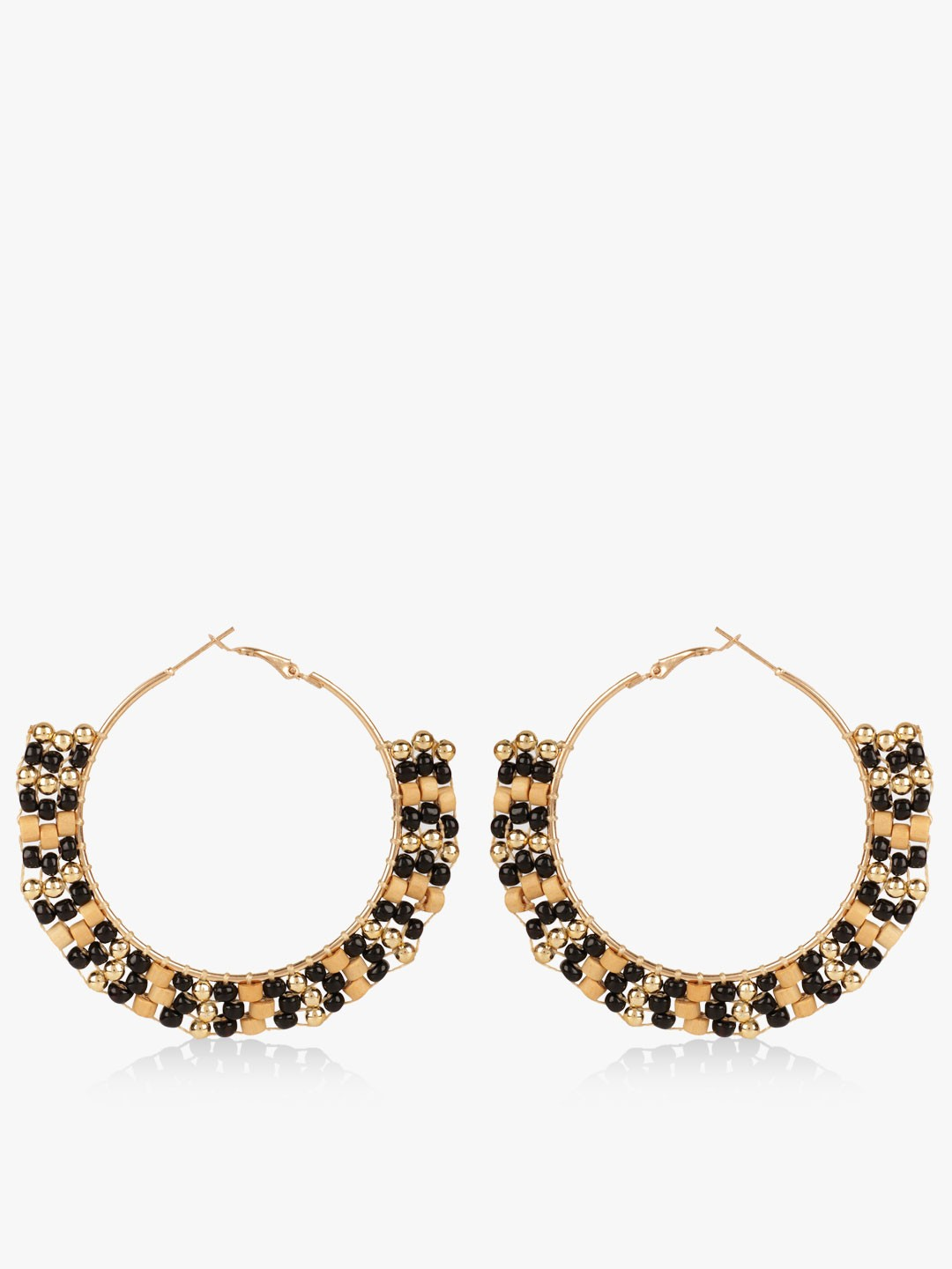Blueberry Black/gold Beaded Hoops 1