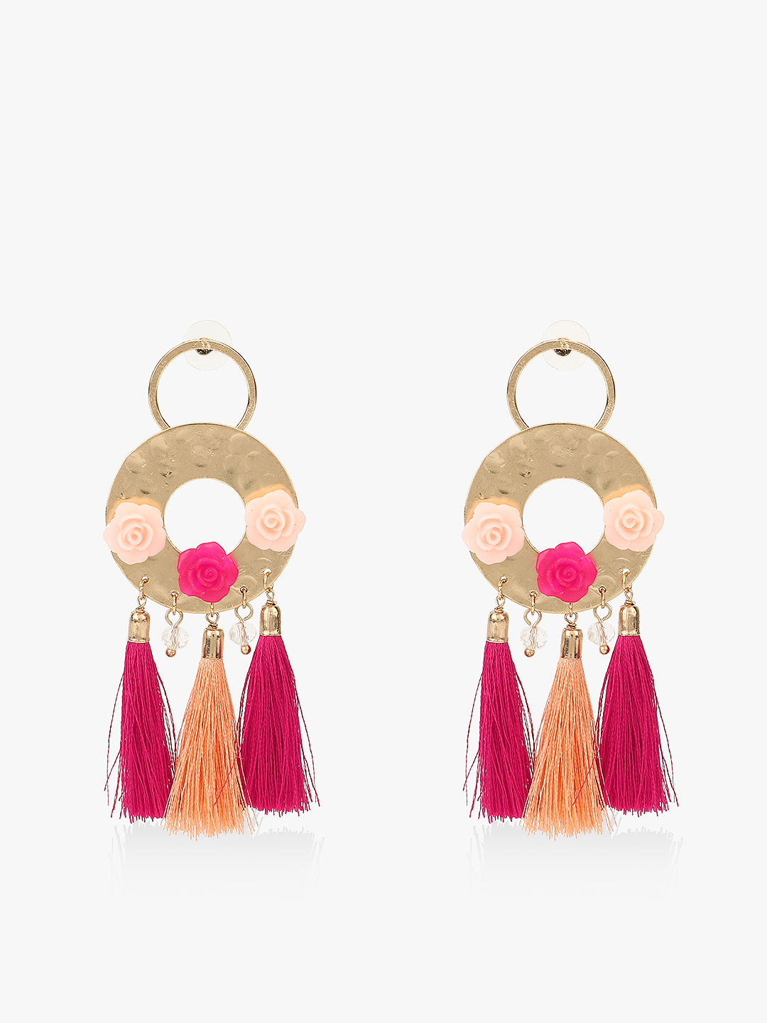 Blueberry Pink Flower Motif Tassel Drop Earrings 1