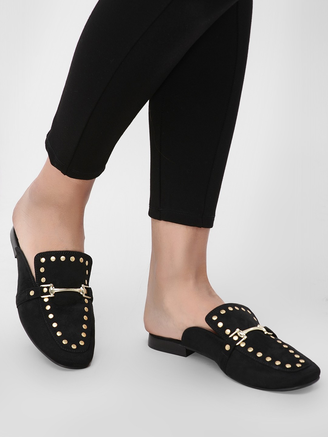 KOOVS Black Studded Horsebit Mules 1