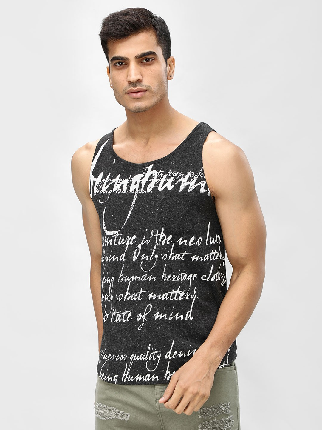 Being Human Black All Over Print Vest 1