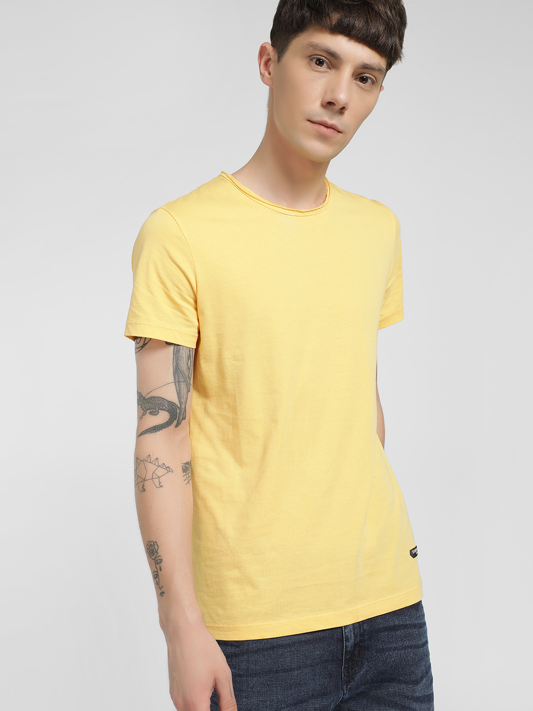 Being Human Yellow Basic Crew Neck T-Shirt 1