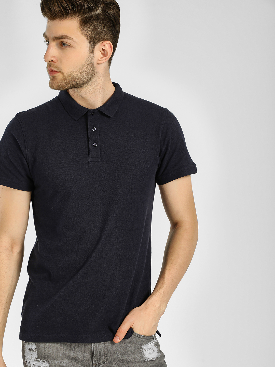 KOOVS Navy Slim Fit Pique Polo Shirt 1