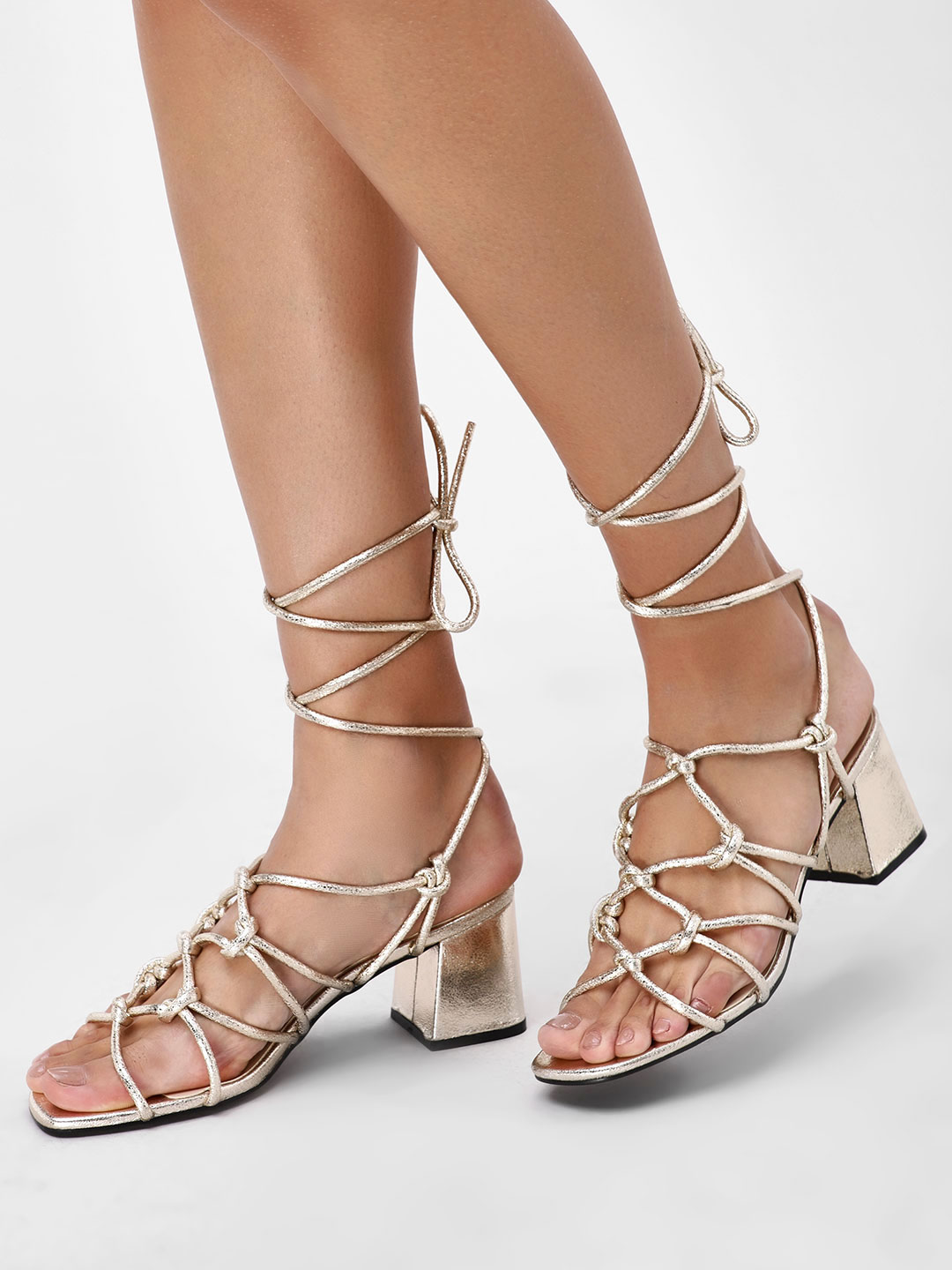 Intoto Nude Flared Mid Heel Gladiators 1