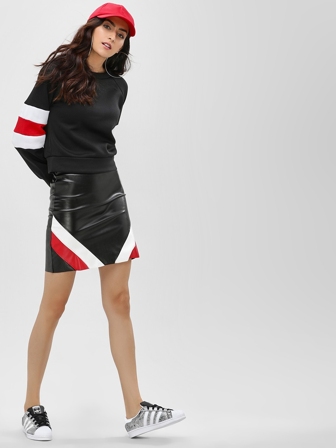 Lasula Black Stripe Panel Mini Skirt 1