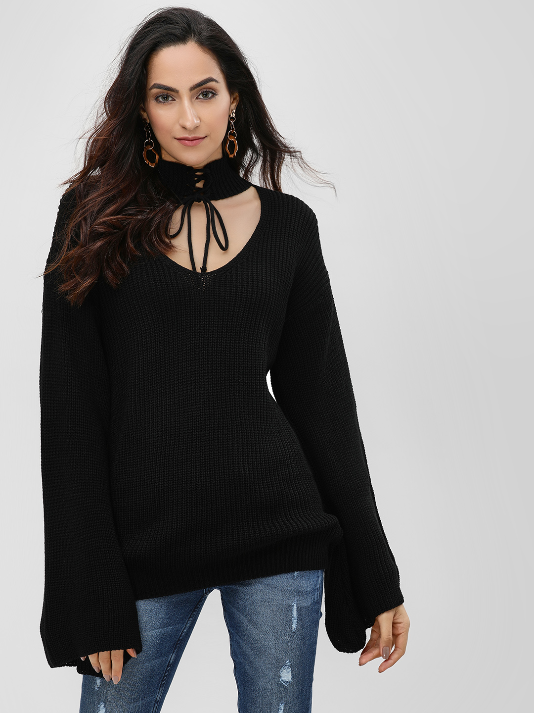 Lasula Black Choker Neck Flare Sleeve Jumper 1