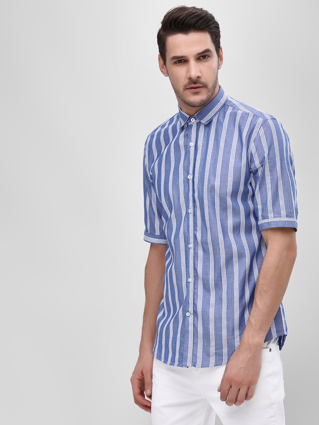 Mr Button Blue Vertical Striped Shirt 1