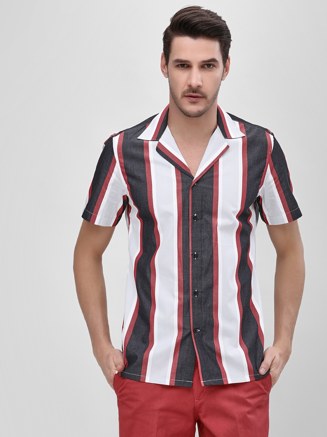 Mr Button Black Vertical Striped Cuban Collar Shirt 1