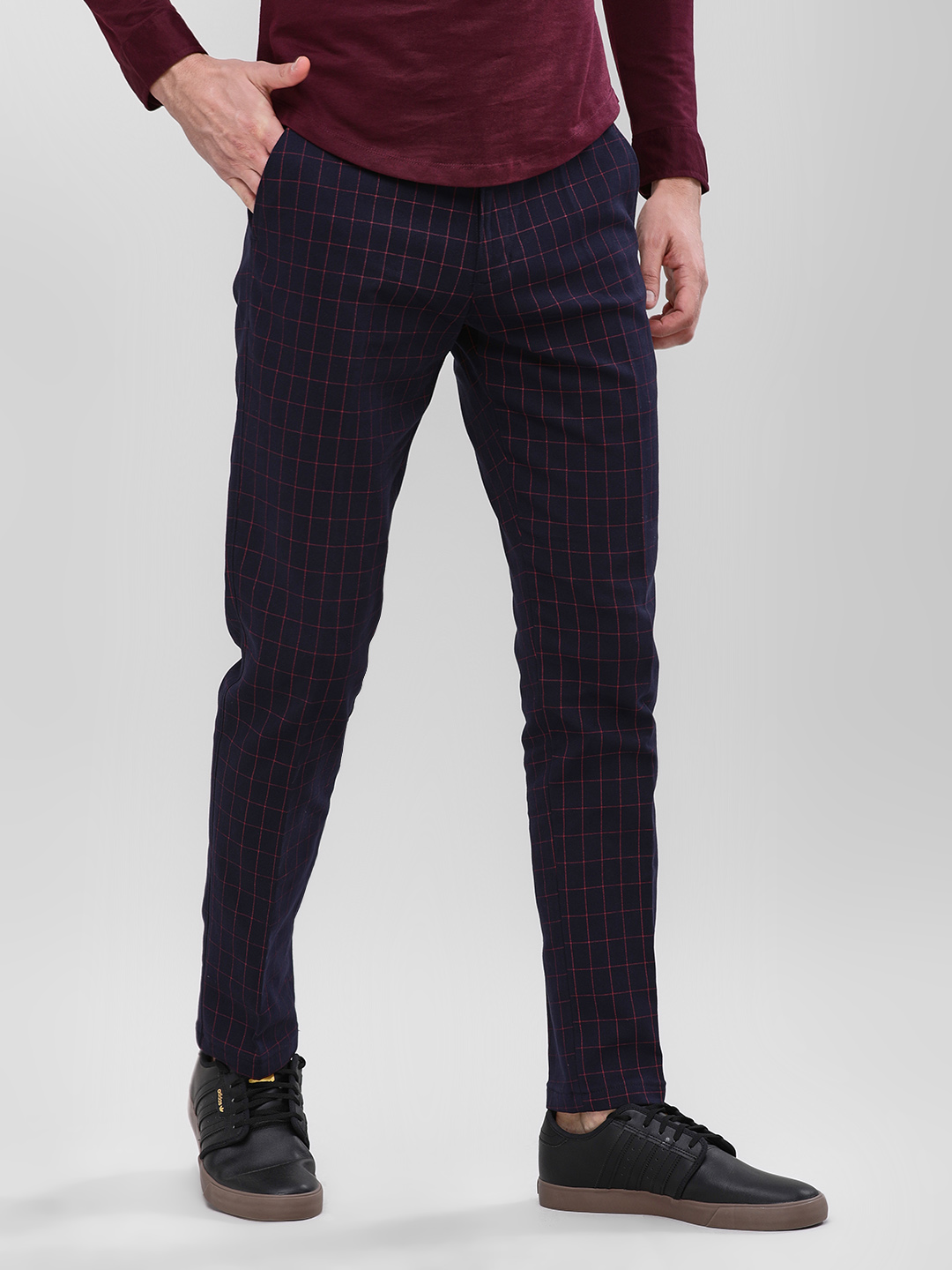 Mr Button Blue Windowpane Checkered Slim Trousers 1