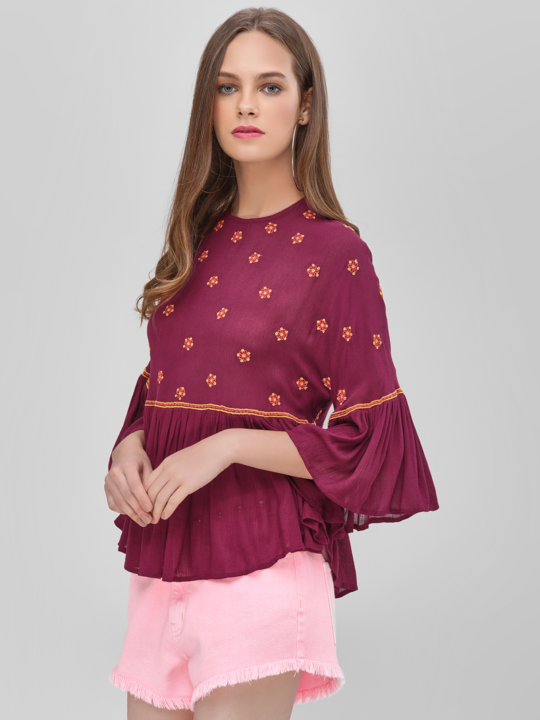 KOOVS Wine Embroidered Flared Sleeve Top 1