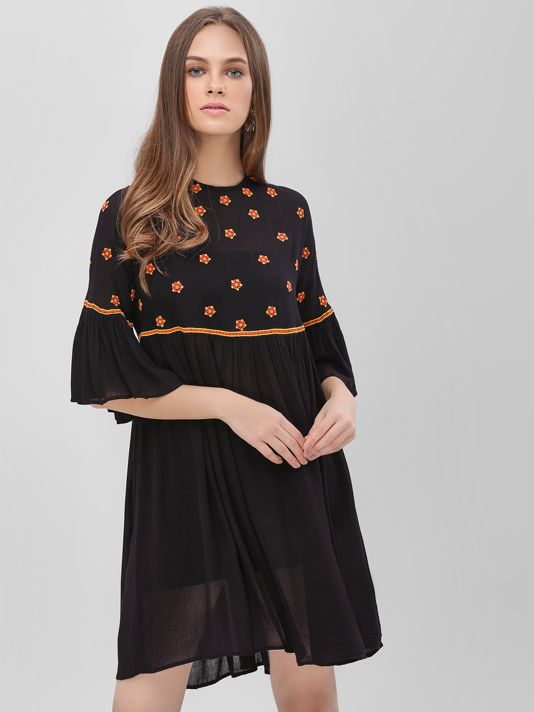 KOOVS Black Embroidered Shift Dress 1