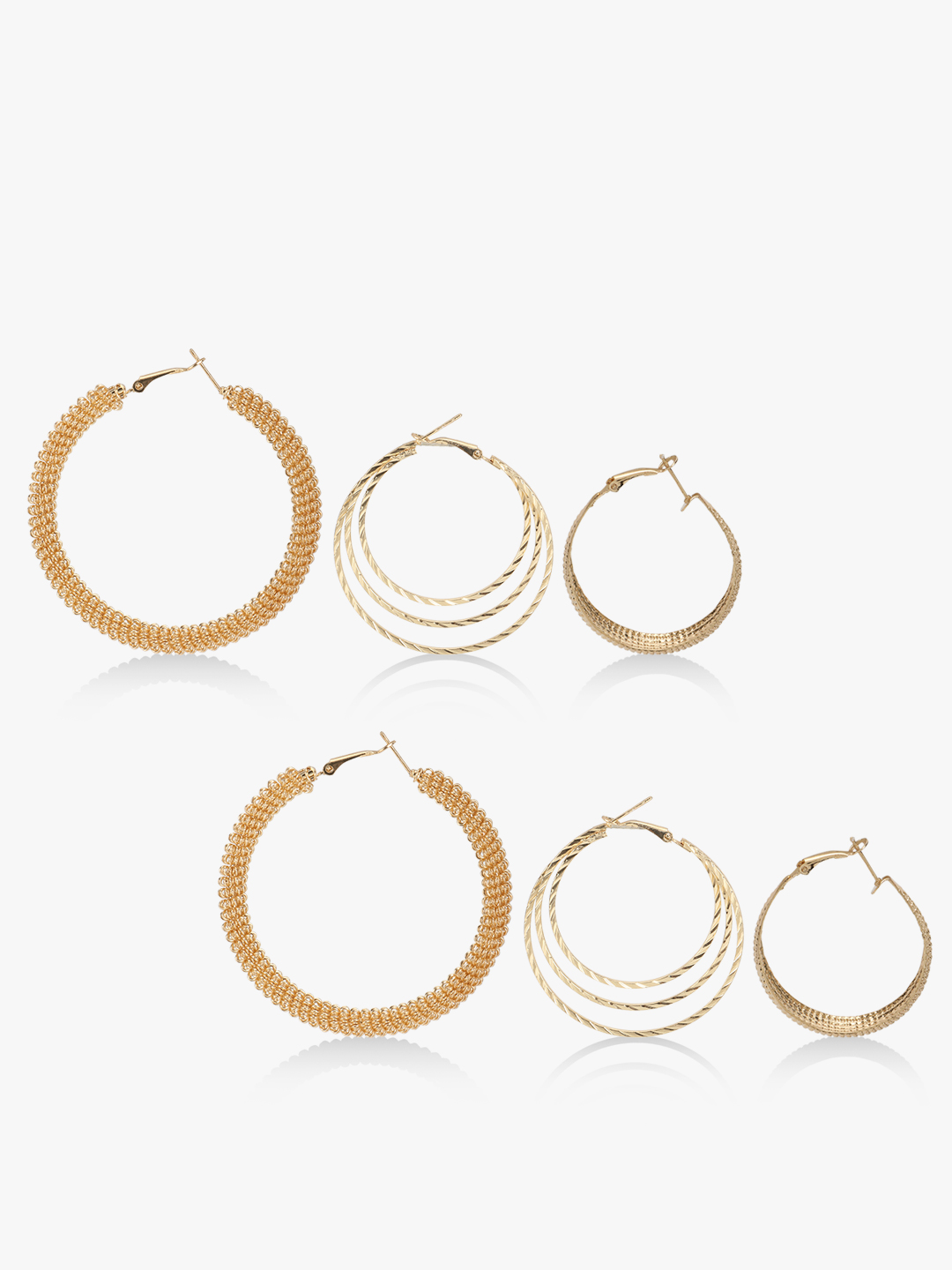 Style Fiesta Gold Hoops (Set Of 3) 1