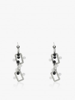 Style Fiesta Chain Link Pearl Detail Earrings