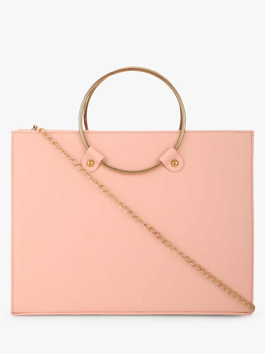 Style Fiesta Blush pink Metal Ring Handle Sling Bag 1