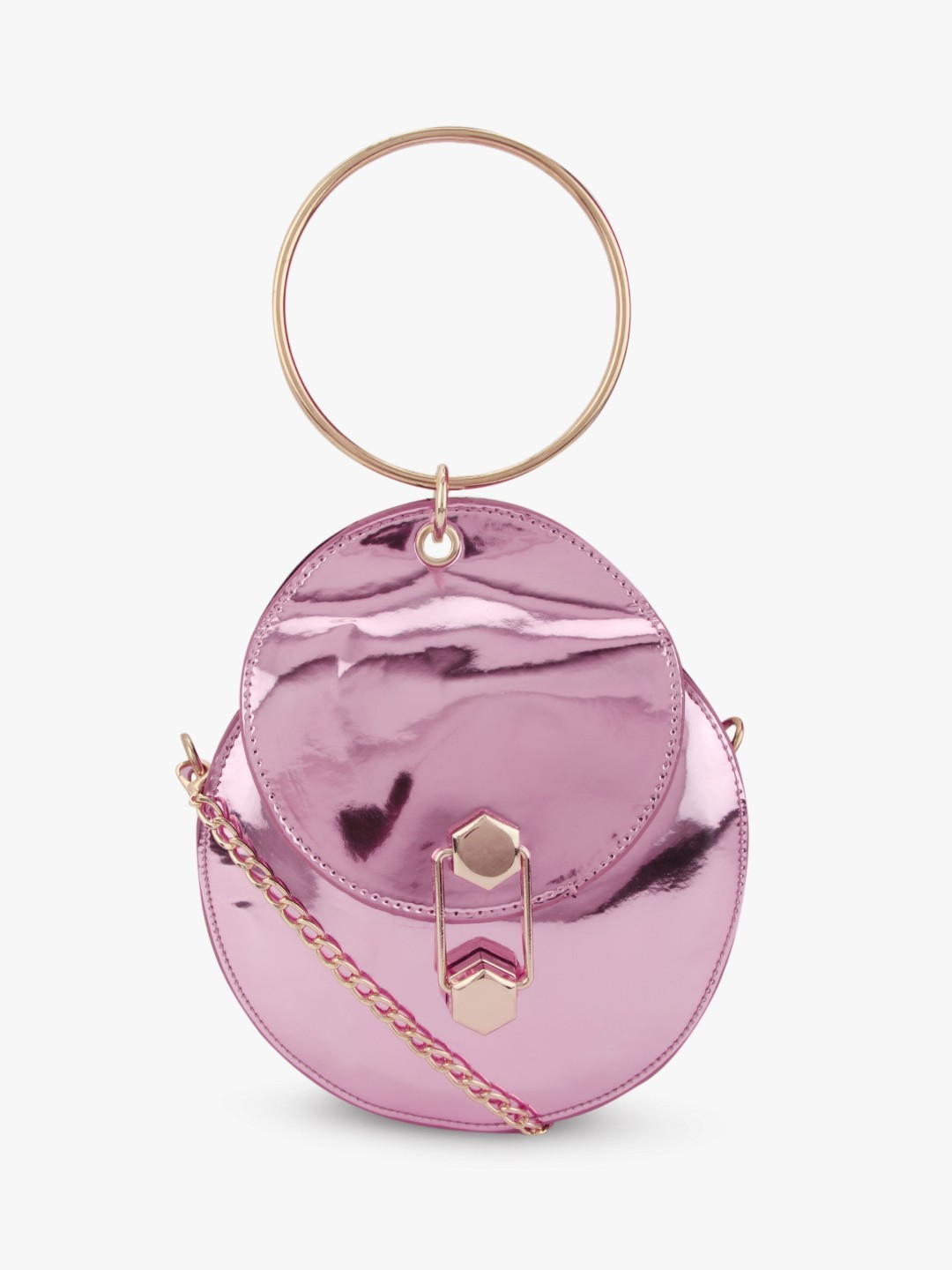 Style Fiesta Pink Ring Handle Circular Sling Bag 1