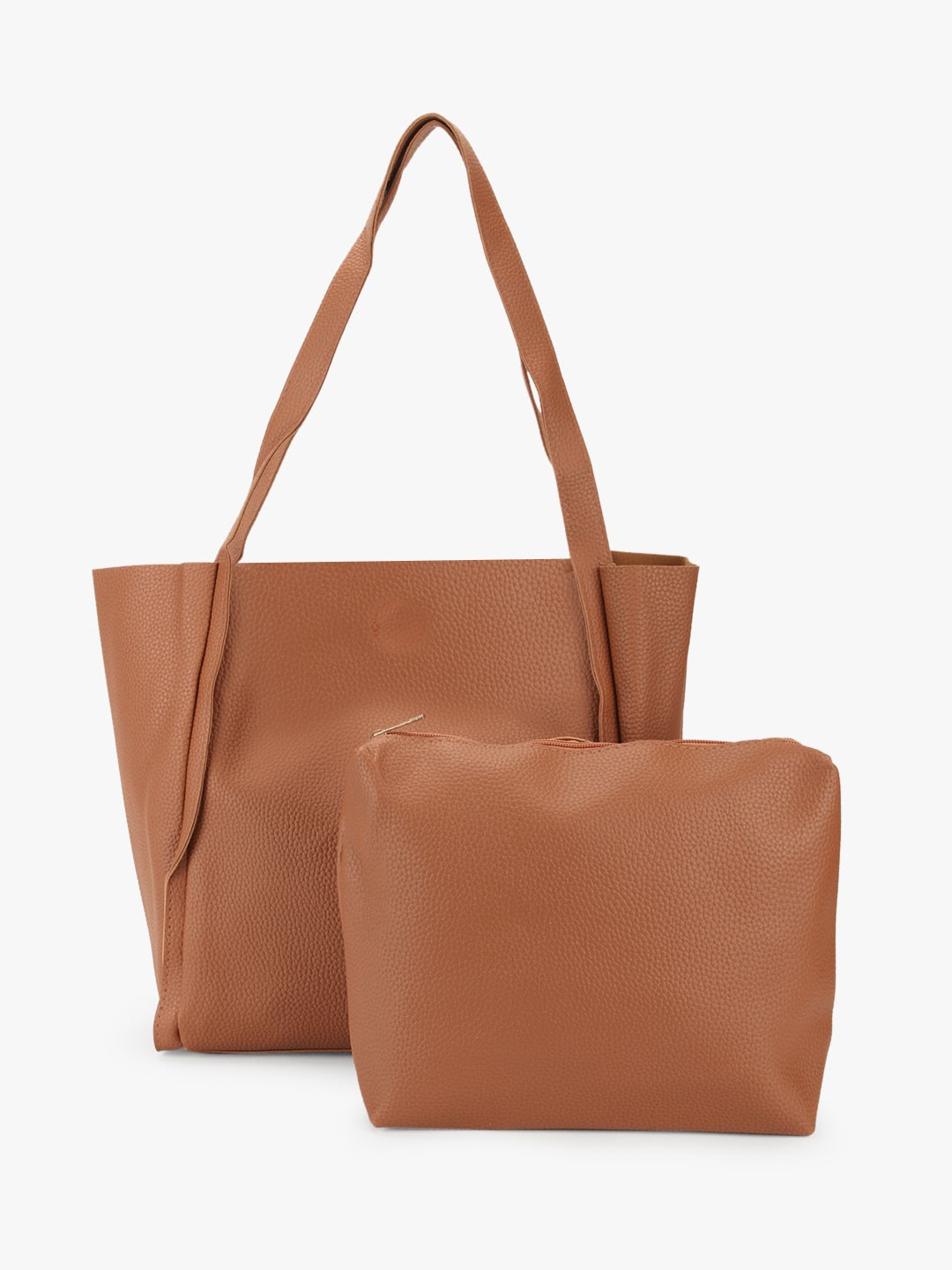 Style Fiesta Tan Tote Bag With Pouch 1