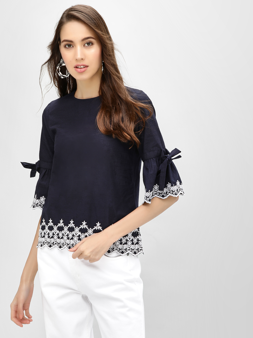 KOOVS Black Broderie Bell Sleeve Top 1