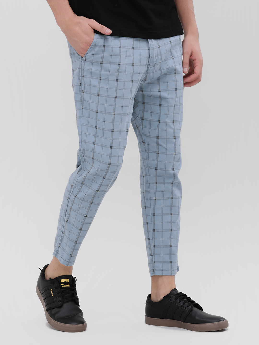 Spring Break Blue Checkered Cropped Trousers 1