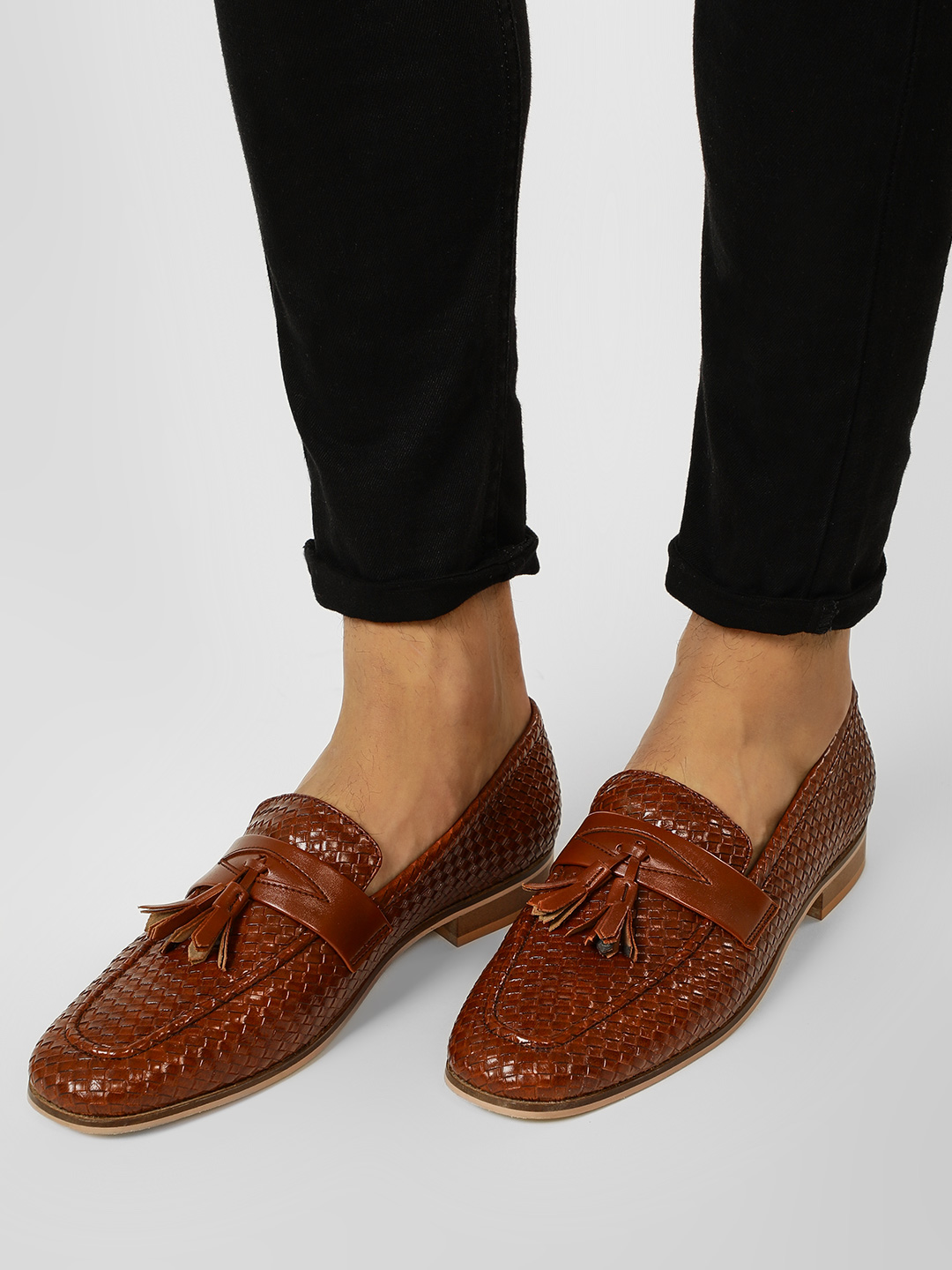 Griffin Brown Weaved Tassel Detail Loafers 1
