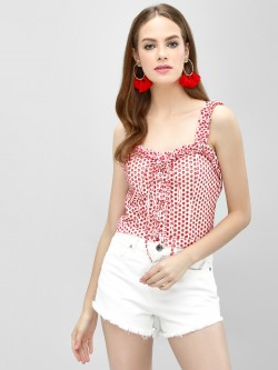 Blue Sequin Broderie Lace-Up Crop Top