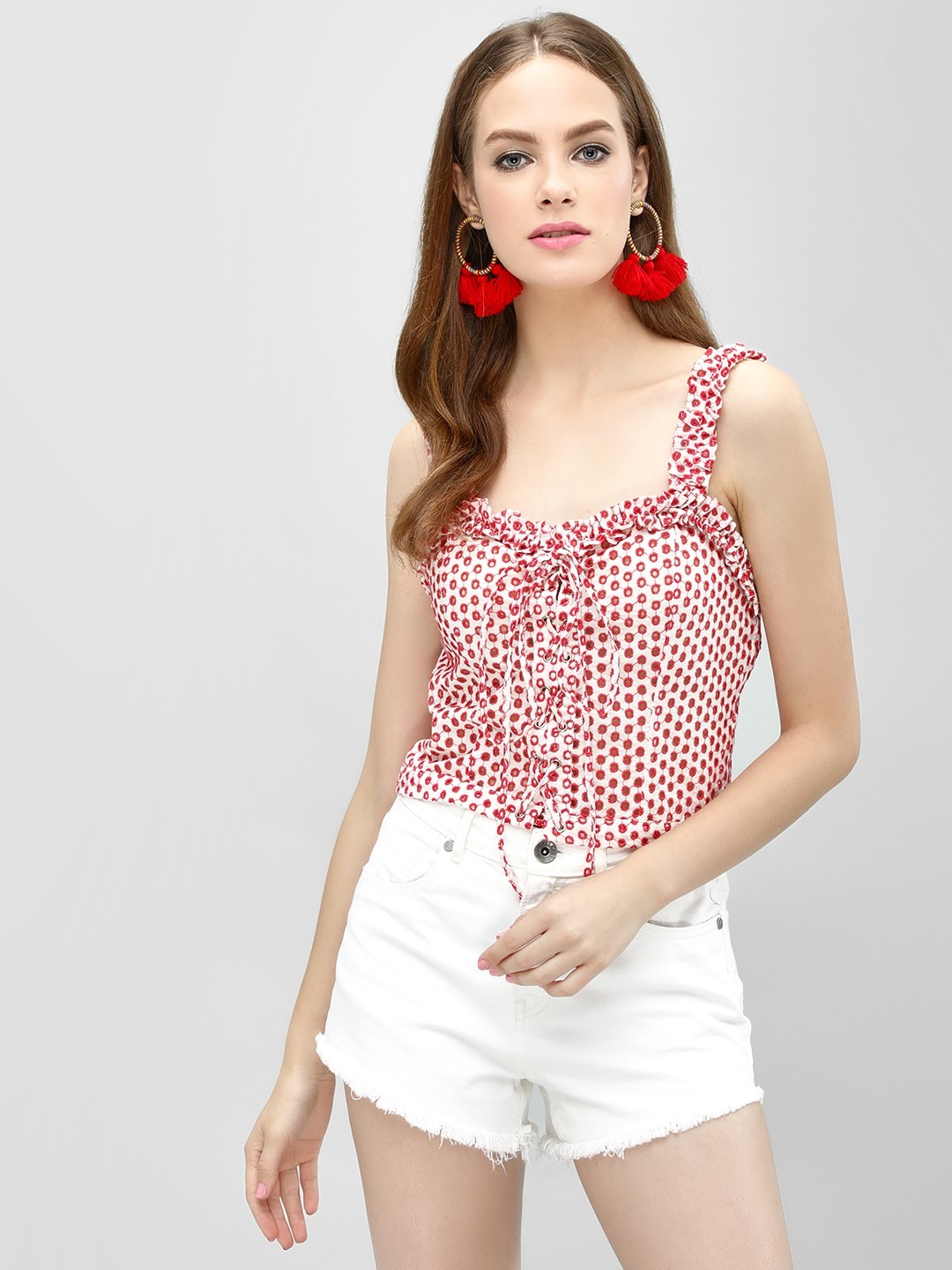 Blue Sequin White/Red Broderie Lace-Up Crop Top 1