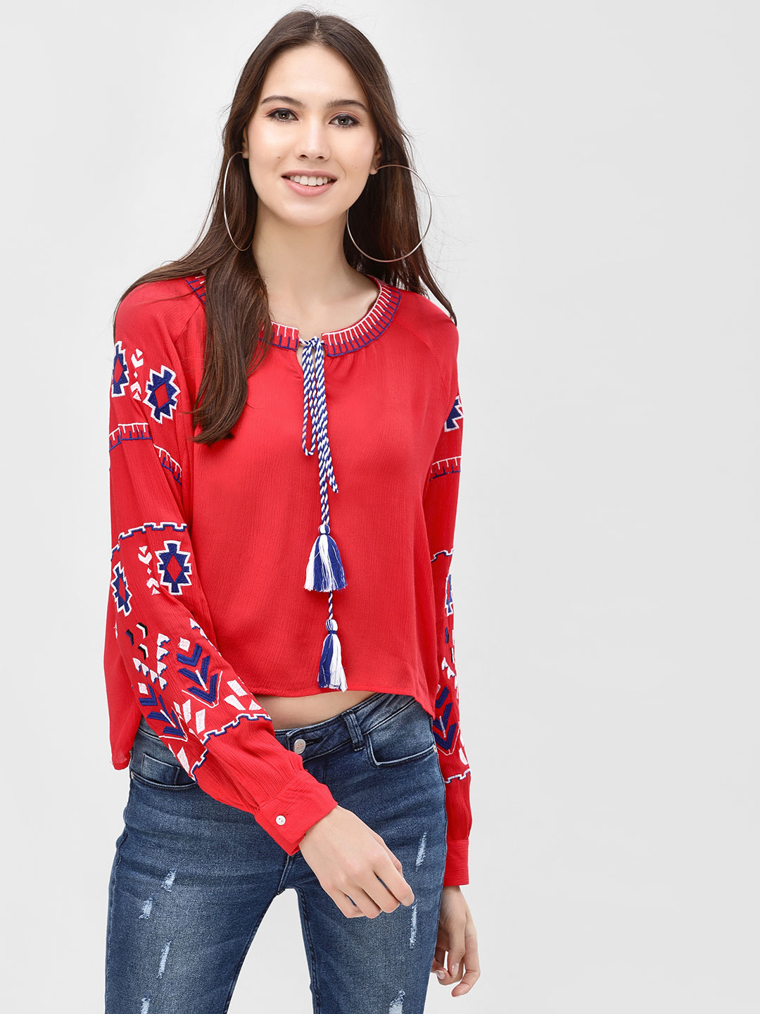 Kisscoast Red Blouse With Heavy Embroidery 1
